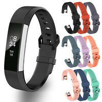 Strap Watch Bracelet Metal Buckle Soft Silicone Band For FitBit Alta, HR & Ace