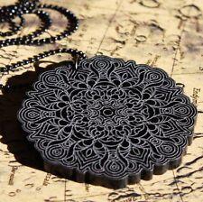 Mandala Halskette • Acryl graviert Meditation Yoga Om Geometry Necklace black