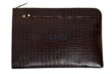 New Deluxe Brown Croc Print Real Leather Under Arm Folder Document Holder Case