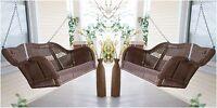 2-Piece Brown Resin Wicker Hanging Outdoor Loveseat Swing Home Patio Furniture