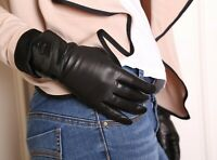 women real Italy leather and patent leather wool lined black gloves