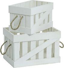 Ensemble De Deux blanc Boîtes en bois Boîtes de pommes Vintage Dekokisten