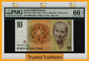 TT PK 53c 1992 ISRAEL BANK 10 NEW SHEQALIM GOLDA MEIR PMG 66 EPQ GEM UNC.