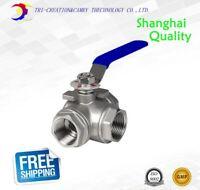 "1/2"" DN15 female stainless steel ball valve,3 way 316 thread handle valve T port"