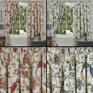 Floral Print Half Panama Lined Tape Top Modern Curtains In Blue Or Terracotta