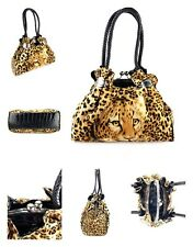 New Women's Stylish Leopard Print Top Handle Hand Bag With Silver Metal Details