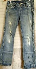 Silver Francis 18 Jeans Size 29w 31L Embroidered Pockets Thick stitch Distressed
