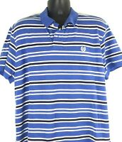 Chaps stretch men's blue striped logo golf polo style short sleeve shirt size XL