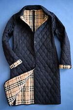 Burberry London QUILTED NAVY BLUE Coat Woman size USA 8 UK 10
