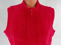 Christopher Banks Reversible Knit or Fleece Vest Womens XL Red Front Zip Pockets