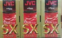 JVC Premium Quality VHS Tapes Lot of 3 T-120 SX GOLD 6 Hours Brand New SEALED