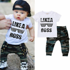 Toddler Baby Boys Clothes Tops Letter T-shirt Camo Pants Summer Outfits Clothes