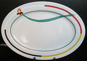 """Red Feather Design A First Nation Company Platter 14 1/2"""" Long Red White Yellow"""