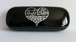 Cat Lover Design Hard shell Glasses / Sunglasses  Case, Black with silver  NEW