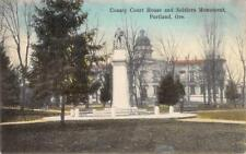 County Court House & Soldiers Monument Portland, OR Hand-Colored 1907 Postcard