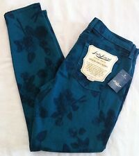 Women's LUCKY BRAND Skinny Jeans Size 30 NWT Turquoise Floral Sofia $99 CUTE!
