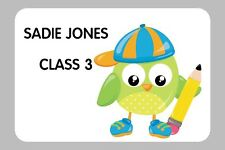 8 LARGE PERSONALISED GLOSSY SCHOOL STICKERS, SEALS LABELS CHILD'S NAME & CLASS