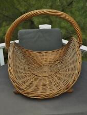 "Primitive Large Woven Wicker Handled Basket Wood Base 23"" x 18"" Wide Handle"