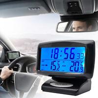 Digital LCD Car Clock Weather  Thermometer Hygrometer Voltage Alarm