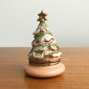 Limoges Peint Main Christmas Tree Trinket Box w/ Gold Chain Puy de Dome Numbered