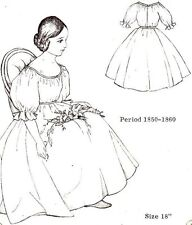 "18"" Period DOLL DRESS PATTERN Victorian German French ANTIQUE / vintage look"