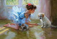 ZWPT518 hand-painted lovely little girl with her 3 cats art oil painting canvas