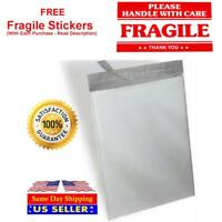 White Poly Mailer Self Seal Shipping Mailing Plastic Bags + Red Fragile Sticker