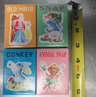 4 Vintage Children's Card Games Party Favors~Old Maid~Snap~Donkey~Animal Snap