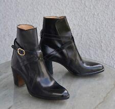 Bottines en Cuir Noir Verni Alfiere Made in Italy Pointure 42 Femme