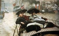"""Art Oil painting Joseph Tissot - Young ladies with man on The Thames river 36"""""""