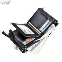 Men's Wallet Luxury Tri-fold Leather Wallets Double Zipper Pocket Short Wallet