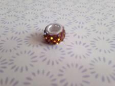 925 Silver Dark Gold Crystal Shamballa Charm Fits European Bead Bracelet
