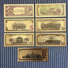 7Pcs/Set Commemorative Euro Banknote Gold Foil Paper Money Collection Currency