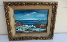 BEAUTIFUL CALIFORNIA SEASCAPE PAINTING CANVAS ON WOOD  BY RUTH COOK