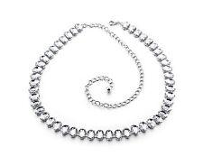 donna argento strass cintura vita catena strass diamanti fibbia 732