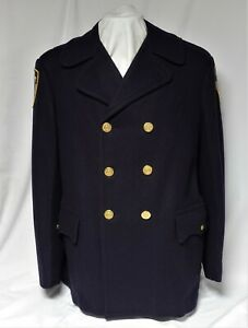 New York City Police Department Double Breasted Reefer Wool Jacket Coat 42L
