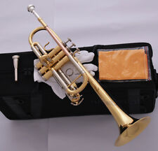Top Gold Lacquer C Key Trumpet Horn Cupronickel Tuning Pipe Free 2 Mouthpiece