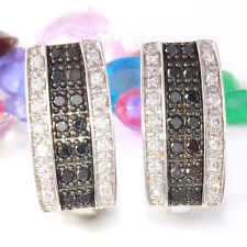 1.15 Carat Natural Black And White Diamond Solid 14K White Gold Earrings