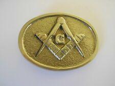 Mason 1973 Solid Brass Gold Tone Belt Buckle Masonic Square Compass Lodge G