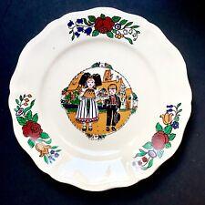 Ancienne Grande  Assiette Hansi Alsace 2 Enfants Faïence De Sarreguemines  N°5