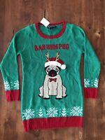 Bahhum Pug Ugly Christmas Tunic Sweater NWT Women's Small Dogs