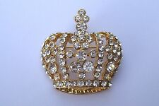 "A Vintage inspired ""Trifari"" Gold tone Rhinestone set Crown brooch.*FREE POST*"