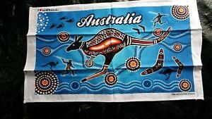 Australia souvenir blue Aboriginal Kangaroo tea towel NEW travel gift cotton