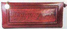 ESCADA Vintage Purse Handbag Clutch Red Gold Crock Lizard Alligator Leather
