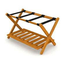 Stony-Edge Luggage Rack Suitcase Stand for Guest Room with Shelf. (Honey Oak)