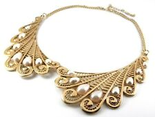 Retro Gold Statement Necklace With Pearlescent Drop Cabochons on Wing Pendants