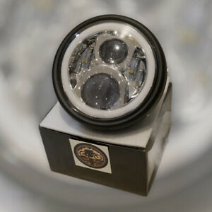 "Motorbike Cafe Chrome 7"" CREE LED Headlight + CASING 7"" 50W E MARKED - DRL HALO"