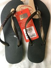 New Havaianas Slim Line Flip Flops Women Size 6W Black Green/Old Gold Beach Pool