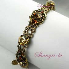 VINTAGE Antique STL 18K GOLD Layered Womens BRACELET with SWAROVSKI CRYSTAL F05