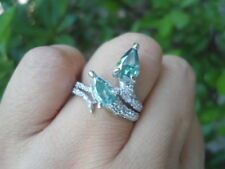 4.30 Bluish Green MOISSANITE Sub to Diamond & CZ 925 Silver Engagement RING S7.5